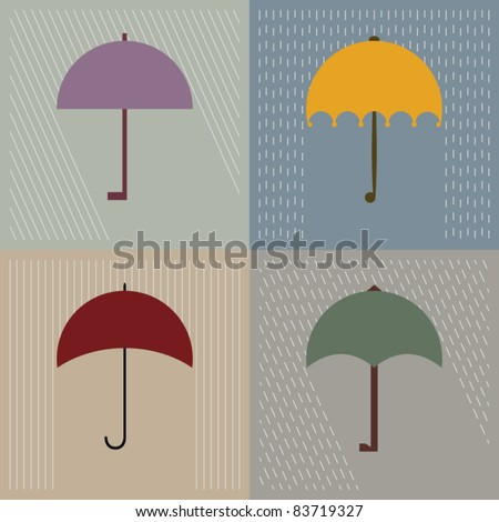 Four types of opened rain umbrella. Vector illustration - stock vector