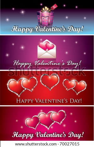 Four Valentine Banners - stock vector