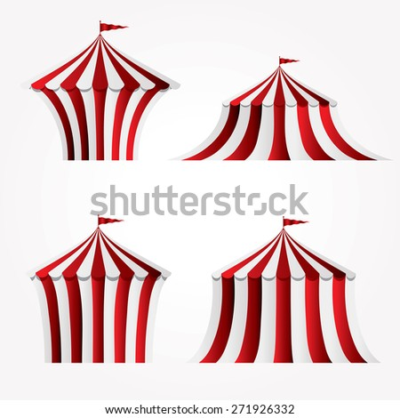 four variations of circus tent - stock vector