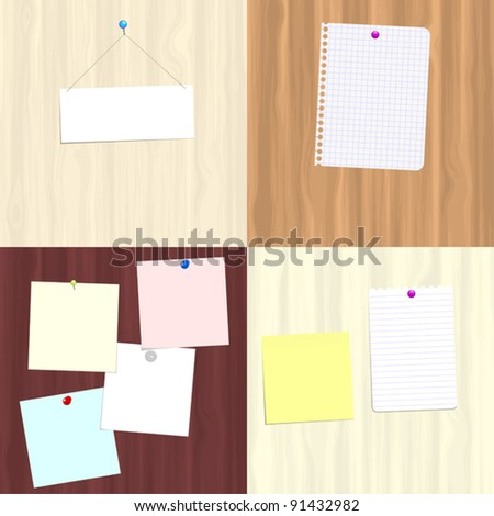Four variations of wooden boards with attached notes for use as copy space - stock vector