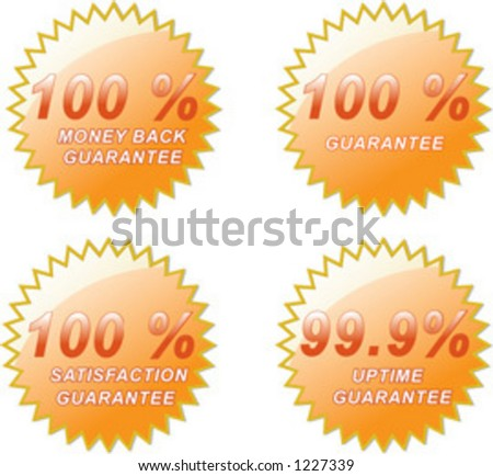 Four various 100% Guarantee golden seals.