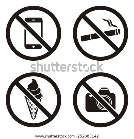 Four vector black circle prohibited signs on white - stock vector