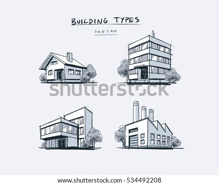 perspective drawings of buildings. Four Vector Buildings Sketch Drawings In Perspective View With Trees. Family House, Work Office Of