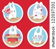 Four vector illustration of cute bunnies. Bunny with lollipops, with heart shape cookies, with love picture-card and bunny cover with kisses. - stock