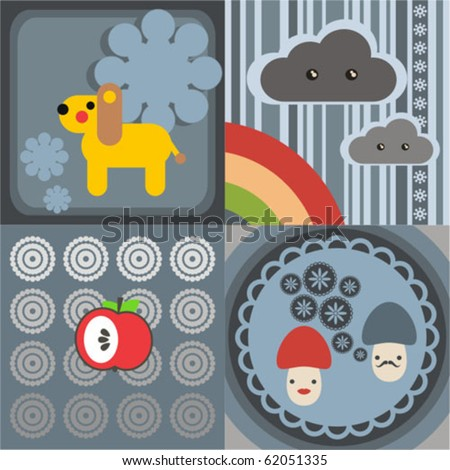 Four vector pictures in Japanese kawaii style. Lion, mushrooms, clouds, apple. - stock vector