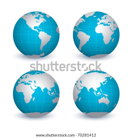 Four view of Earth on a white background