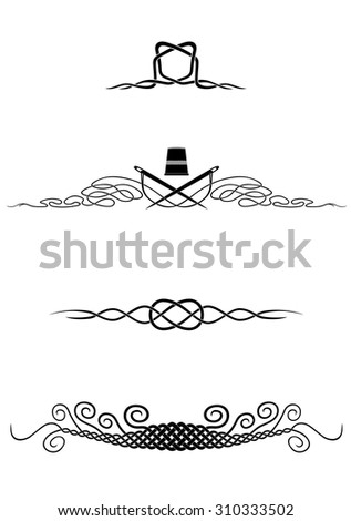 Four vignettes based on loops, knots or interlaced threads with thimble and needles. Black vector shapes on white.