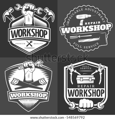 Four vintage repair workshop logo set with full service repair workshop description and others vector illustration