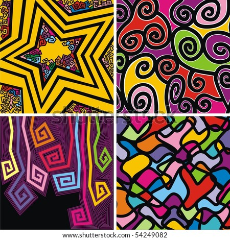 four wallpapers with colorful patterns on black background. Vector illustration.