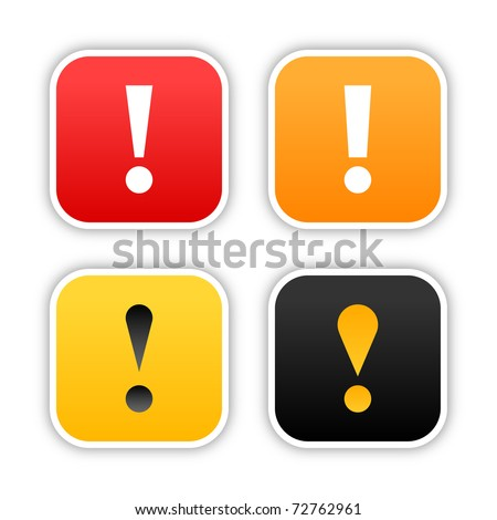 Four warning stickers rounded square shape with shadow on white background. 10 eps - stock vector