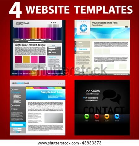 Four website templates. Second set. - stock vector