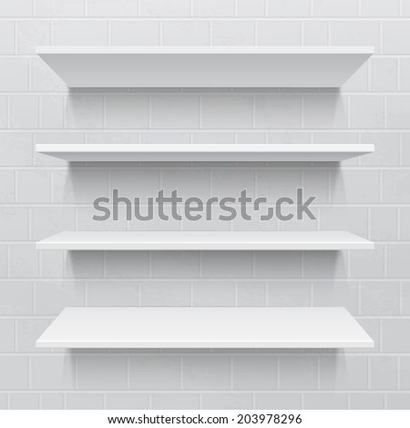 Four white realistic shelves against brick wall. Vector illustration - stock vector