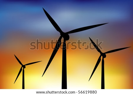 Four Wind Turbine Generating Electricity In Night Sky - stock vector