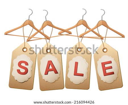 Four wooden hangers with price tags forming the word Sale. Discount promotion concept. Vector. - stock vector