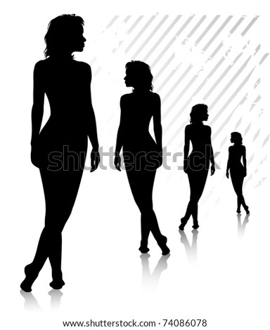 Four young harmonous high naked women stands on the floor. Silhouette. Illustrator 8. - stock vector