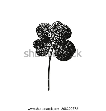 Fourleaf, hand illustration, irish saint patrick day vector - stock vector