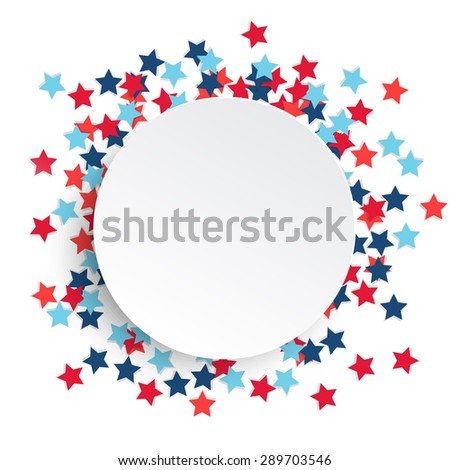 Fourth 4 July Independence Day celebration background with star shaped confetti and copy space, vector illustration - stock vector