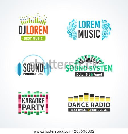 Fourth music equalizer emblem elements set separated - stock vector