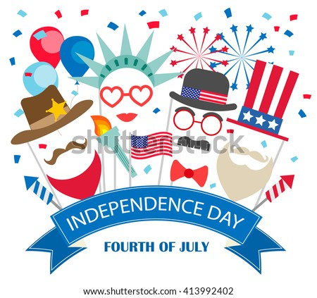 Fourth of July  background with booth props, fireworks, flags, balloons, confetti. Statue of liberty, Uncle Sam costumes.Can be used for 4th july Independence Day party invitation, card, flyer, poster - stock vector