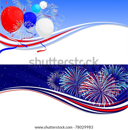Fourth of July celebration banners - stock vector