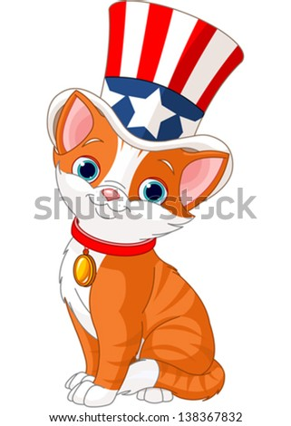 Fourth of July kitten with top hat