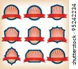 Fourth Of July Ribbons, Shields, Labels And Banners/ Collection of shield and other badges with banners, labels, ribbons  for fourth of july holidays or patriotic red and blue event - stock