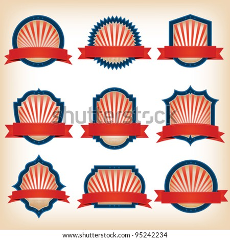 Fourth Of July Ribbons, Shields, Labels And Banners/ Collection of shield and other badges with banners, labels, ribbons  for fourth of july holidays or patriotic red and blue event - stock vector
