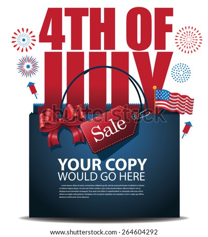 Fourth of July Sale shopping bag background EPS10 vector royalty free stock illustration for greeting card, ad, promotion, poster, flier, blog, article, ad, marketing, retail shop, brochure, signage - stock vector