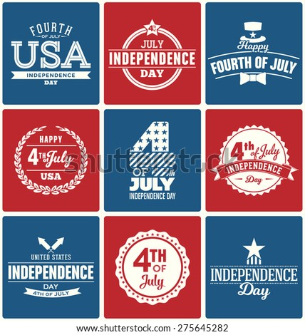 Fourth of July Typography Design Collection - 4th of July - A set of nine vintage style Independence Day Designs on red and blue backgrounds - stock vector