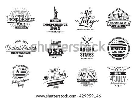 Fourth of July, United Stated independence day greeting. July 4th typographic design. Usable for 4th of July greeting cards, banners, print. July fourth in USA emblems. - stock vector