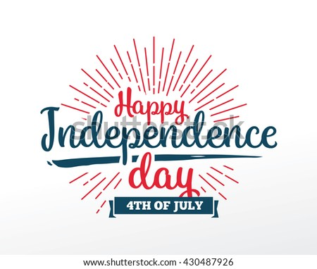 Fourth of July, United Stated independence day greeting. 4th july. Typographic design. Usable for greeting cards, banners. - stock vector
