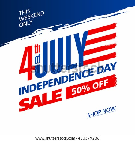 Fourth of July USA Independence day sale banner design template vector illustration - stock vector
