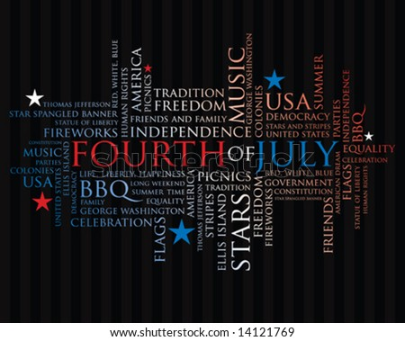 fourth of july words in red, white, and blue - stock vector