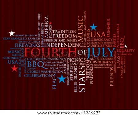fourth of july words in red, white, and blue on a red striped background - stock vector