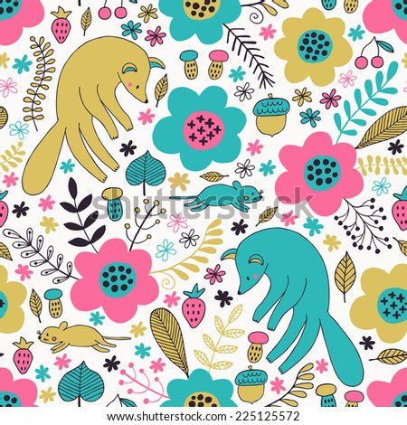 Fox and mouse seamless pattern. Vector illustration.  - stock vector