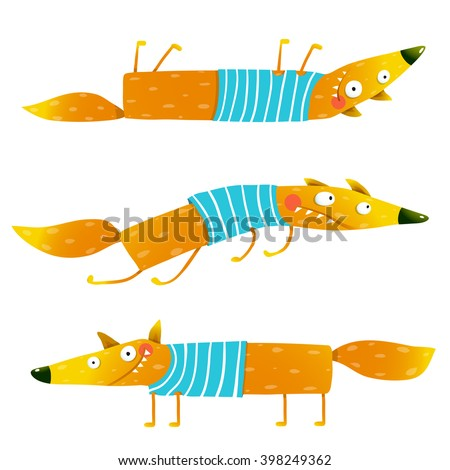 Fox animal character in clothes cartoon set. Fox animal fun cartoon watercolor style collection. Wildlife mammal, brightly colored. Character foxy creature. Vector illustration - stock vector
