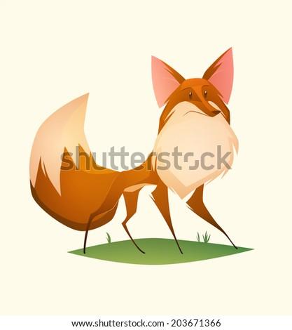 Fox character. Cartoon vector illustration. - stock vector