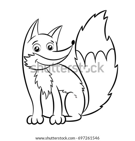 fox coloring book design for kids and children vector illustration isolated on white background - Fox Coloring Book