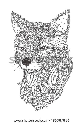 fox hand drawn with ethnic floral doodle pattern coloring page zendala - Fox Coloring Pages