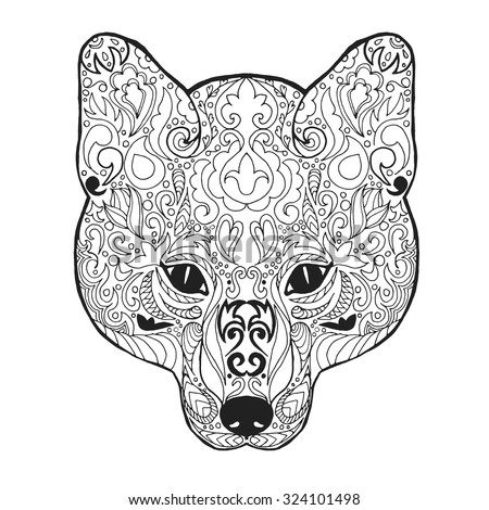 Fox Head Adult Antistress Coloring Page Black White Hand Drawn Doodle Animal Ethnic