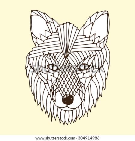 Fox head illustration  - stock vector