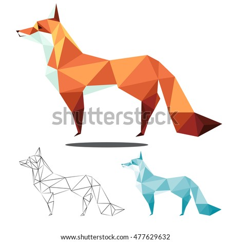 fox ilustration graphic art in low polygon vector , geometric illustration