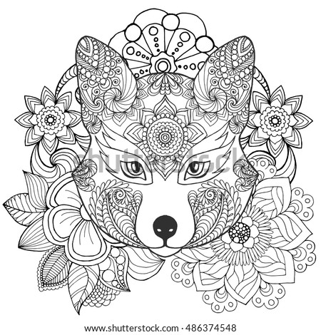 Fox In Flowers Coloring Page Hand Drawn Doodle Floral Patterned Vector Illustration African
