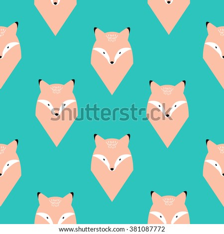 Fox seamless pattern. Eps10 vector - stock vector