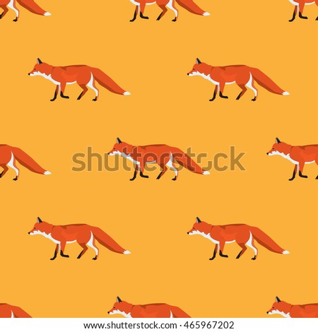 Fox vector seamless pattern animal background