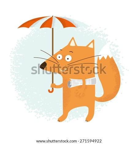Fox with an umbrella - stock vector