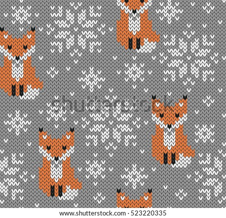 Foxes Jacquard Knitted Seamless Pattern Winter Stock Vector Royalty