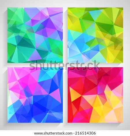 Fractal Abstract Background set of fractal abstract four abstract backgrounds in different colors vector available in 4 variants - stock vector