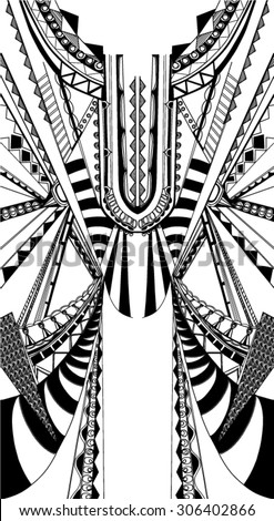 Fractal geometric print,free hand drawn in vector - stock vector