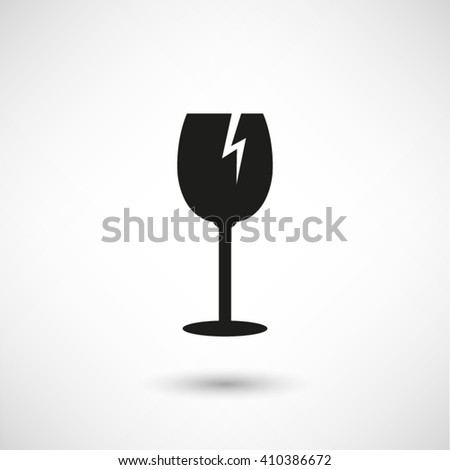 fragile glass - black vector icon  with shadow - stock vector
